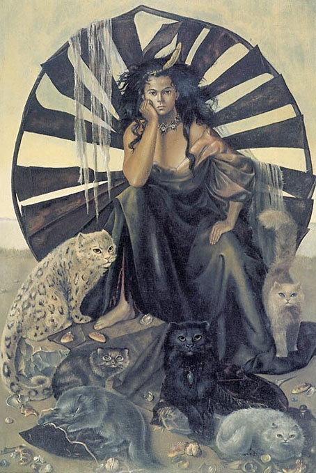 Un dipinto della pittrice, illustratrice e narratrice Leonor Fini.